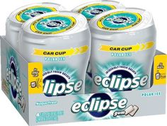 Eclipse Sugar Free Gum, Polar Ice, 60 Piece Big E Bottles (Pack of 4) I chew this gum all the time, I love getting a this amount (240 pieces total) and having plenty around. I usually keep one pack in my bedroom and another in my car. I also love the Polar Ice, it's a strong mint flavor that I definitely prefer. And even better the flavor lasts a good long time. And, it's way less expensive than in store.