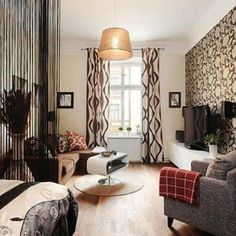 Small Apartment Organization, Small Apartment Design, Small Apartment Living, Small Apartment Decorating, Small Living Rooms, Small Apartments, Living Room Decor, Apartment Ideas, Curtains