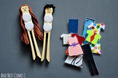 pegs with drawn on faces, wool hair and velcro to attach laminated paper clothes to