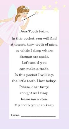Tooth fairy visits cute idea for first tooth more for lucy fairy poems and quotes pronofoot35fo Choice Image