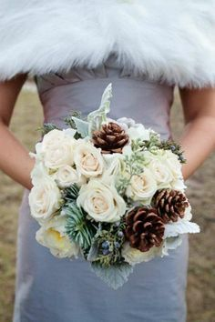Woodsy Bouquet Idea with Cream or Ivory Roses, Pine Cones, Spruce and Juniper accents.
