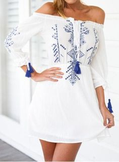 Bohemian Off The Shoulder 3/4 Sleeve Printed Dress For Women