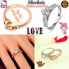 Style: Sweet Type: Zircon Wedding Ring Material: Alloy, Crystal, Zircon Color…