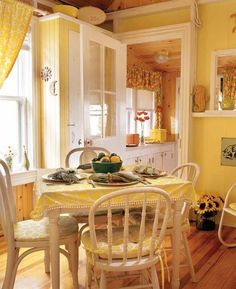 Yellow Kitchen Decor to Brighten Your Cooking Space - DIY Home Art Cottage Living, Cottage Style, Cozy Cottage, Shabby Cottage, Shabby Chic, Yellow Kitchen Curtains, Farmhouse Curtains, Yellow Kitchen Designs, Yellow Kitchens
