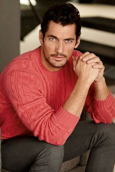 David Gandy - easily the most beautiful man. Even in a crazy fuchsia sweater. David Gandy Style, David James Gandy, Mode Masculine, Coral Sweater, Perfect Man, Male Models, Supermodels, Beautiful Men, Sexy Men