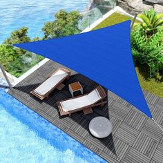 After many hours of research, examining all of the qualities of the best shade sails available, we have determined that the triangular Windscreen4Less line of sails are the best sail shades on the market. These lofty fabric patio covers are made of 180GSM knitted high-density polyethylene fabric, with durable steel D-rings on each corner and included nylon cords for easy suspension. Sun Sail Shade, Triangle Sun Shade, Shade Sails, Outdoor Shade, Patio Shade, Shade Sail Installation, Canvas Patio Covers, Patio Sails, Concrete Bags