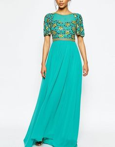 Virgos Lounge Anastasia Embellished Top Maxi Dress in GREEN/ MULTI UK 8 in Clothes, Shoes & Accessories, Women's Clothing, Dresses | eBay