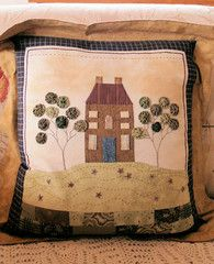House on the Hill Appliqued Cushion