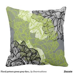 Floral pattern green grey throw pillow