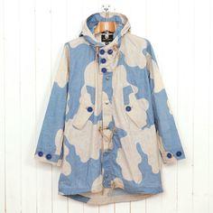 Nigel Cabourn naval parka Camo Fashion, Mens Fashion, Oi Polloi, Nigel Cabourn, Blue Bodies, End Of Season Sale, Blue Camo, Winter Warmers, Parka