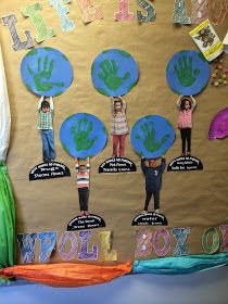 Handprint Earth Day art project for kids. Perfect Earth Day classroom craft for toddlers and preschoolers. Earth Craft, Earth Day Crafts, Preschool Crafts, Crafts For Kids, Art For Kids, Earth Day Activities, Activities For Kids, Kindness Activities, Science Activities