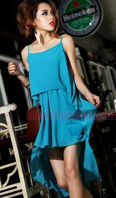 Korean irregular chiffon skirt black, blue, apricot