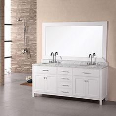 Fresh and modern styles complete this wood and marble bathroom vanity. The double sinks and and included mirror make this vanity an excellent addition to your office or home.