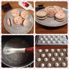 Préparation des macarons vanille, chocolat, fève tonka de www.croquantetgourmand.com