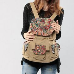 Vintage Ethnic Canvas Traveler Backpack - A op Etsy, 25,00 €
