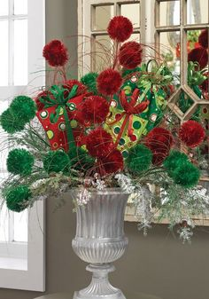 Celebrate the most exciting and cherished holiday of the entire year with Gorgeous Christmas Floral Arrangements that bring nature indoors and set a mood of generosity and appreciation. Merry Christmas, Christmas Store, All Things Christmas, Christmas Holidays, Christmas Wreaths, Christmas Crafts, Christmas Ideas, Christmas Urns, Happy Holidays