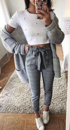 #spring #outfits woman wearing white crop top and grey pants. Pic by @w_street_style