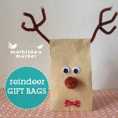 Reindeer Gift Bags Secret Santa Christmas Craft ideas Christmas Craft for kids