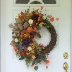 Fall Wreaths-Hydrangea Wreath-Pumpkin by ReginasGarden on Etsy