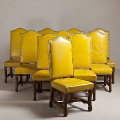 Talisman A Set Of Six Spanish Yellow Leather Upholstered Chairs 1940s Home Decor