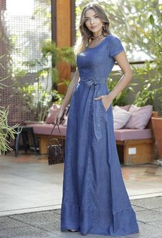 Vestido Longo Mavilde 28244 | Daluky Fashion Wear, Denim Fashion, Girl Fashion, Fashion Dresses, Denim Maxi Dress, Jeans Dress, Dress Skirt, Linen Dresses, Modest Dresses