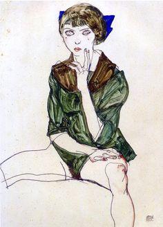 Egon Schiele (Austrian: 1890 - 1918), Sitting woman in a green blouse,1913. Gouache, watercolor and pencil on paper, 47.8 x 32cm..PinIt : Anónimo de Piedra