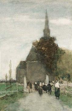 Hendrik Johannes Weissenbruch - Kerkgangers Woubrugge