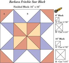 """!Sew WE Quilt!: Jean Ann with her Barbara Fritchie Star... 16"""".  Possibly could be used for barn quilt pattern?"""