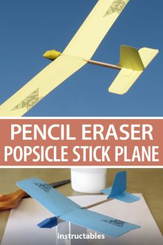 Make little toy planes that actually fly from popsicle sticks, pencil erasers, and paper parts. Recycled Bottle Crafts, Upcycled Crafts, Winter Crafts For Toddlers, Diy For Kids, 4 Kids, Paper Rockets, Rockets For Kids, Pencil Eraser, Art Craft Store