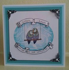 Using a mixture of Clarity stamps and stencils to frame the lovebirds.