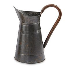 "Ceramic Pitcher Decor Water Jug with Brass Handle Handmade10/"""
