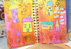 Mixed media art journal pages. All images and color Dyan Reaveley.