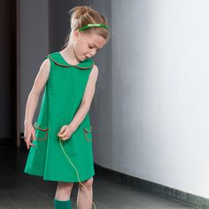 Niel and Kaat, Green A-line dress