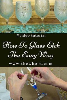 Learn how to etch glass the easiest way and produce all sorts of great results for glasses, dishes, windows and more. Watch the video now. Etched Wine Glasses, Painted Wine Glasses, Diy Glasses, Decorated Wine Glasses, Personalized Wine Glasses, Dremel, Pop Up Shop, Foto Transfer, Glass Engraving