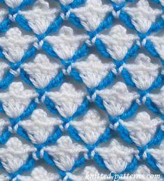 Crochet Stitches Design Shells and Picots - Crochet Stitch - free pattern Crochet Stitches Free, Crochet Shell Stitch, Afghan Crochet Patterns, Crochet Basics, Baby Knitting Patterns, Crochet Motif, Stitch Patterns, Crochet Dishcloths, Tunisian Crochet