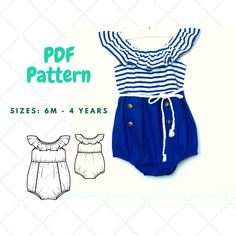 Baby Romper PDF, Bubble Romper PDF Pattern , Baby Sunsuit Pattern, Romper with ruffle PDF, Baby clothes, Pattern for baby by TrendyLittlePatterns on Etsy https://www.etsy.com/ca/listing/527198451/baby-romper-pdf-bubble-romper-pdf