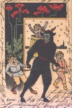home of the holiday devil :: Krampus Gallery Anti Santa, Creepy Vintage, Occult Art, Very Scary, Saint Nicholas, E Cards, Greeting Cards, Winter Solstice, Devil