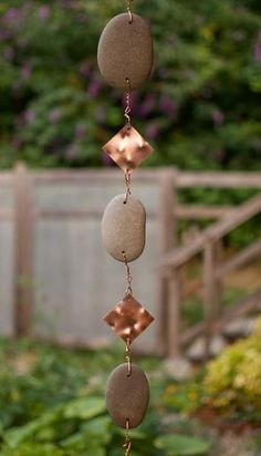 Wind Chime Outdoor Handcrafted Beach Stone Copper Brass
