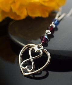 Silver Infinity Heart Necklace with Birthstone Swarovski Crystals - Mother's Necklace