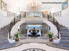 A taste of European style on Hawaii Loa Ridge - Real Estate - August 2012 Double Staircase, Grand Staircase, Staircase Design, Luxury Staircase, Chandeliers, Luxury Chandelier, Mansion Interior, House Entrance, Entrance Foyer