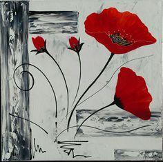 Tableau moderne coquelicots en rouge et noir. Peinture acrylique sur toile châssis plat 50x50. peint à la main par Raffin Christine Artiste peintre décoratrice. Modèle unique. Page Facebook : L'étoile de Chris