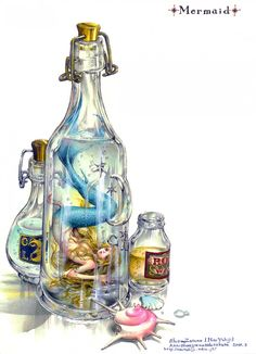 Cute Anime Mermaid in a bottle by Tukiji Nao