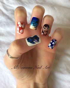 Lilo and Stitch nail art for summer #summernails #disneynailart