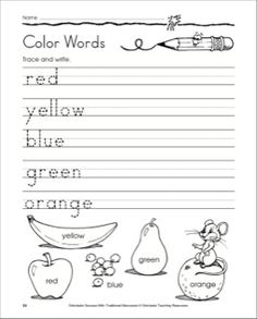 Traditional Manuscript Trace and Write - Color Words, Lowercase