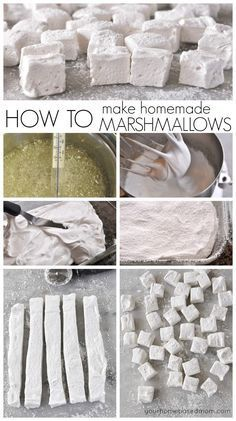How to make homemade marshmallows are easier than you think and so much more delicious than store bought! Making your own homemade marshmallows isn't hard at all and they taste so much better than the store bought variety. Yummy Treats, Delicious Desserts, Sweet Treats, Dessert Recipes, Yummy Food, Tasty, Recipes With Marshmallows, Homemade Marshmallows, Homemade Candies