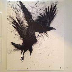 thinkspace-gallery: The work of SIT on view at Art Show (at SCOPE New York Crow Art, Raven Art, Bird Art, Hugin Munin Tattoo, Rabe Tattoo, Crows Ravens, Body Art Tattoos, Fox Tattoos, Tree Tattoos