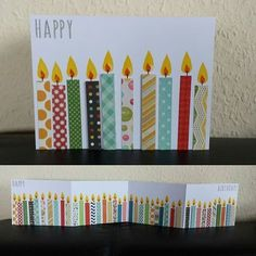 Karte zum Geburtstag / BIrthday Card for a birthday ` ( Vary the number of candles for other birthdays) Homemade Birthday Cards, Diy Birthday, Homemade Cards, Birthday Poems, Birthday Parties, Bday Cards, Happy Birthday Cards, Holiday Cards, Christmas Cards