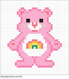 Free Care Bear Cross Stitch Chart or Hama Perler Bead Pattern. Use this as a sewing pattern to make felt ornaments. Grumpy Bear for my sister. Hama Beads Patterns, Beading Patterns, Cross Stitch Designs, Cross Stitch Patterns, Cross Stitching, Cross Stitch Embroidery, Pixel Art, Art Perle, Pixel Crochet