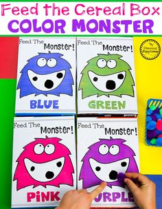 Color Sorting Game for Preschool - Easy DIY Cereal Box Monster and Pom Poms Cookie Sheet Activities, Monster Activities, Preschool Activities, Pool Activities, Preschool Worksheets, Preschool Learning, Feed The Monster, Monster Classroom, Back To School Worksheets
