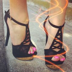 Criss cross platform heels